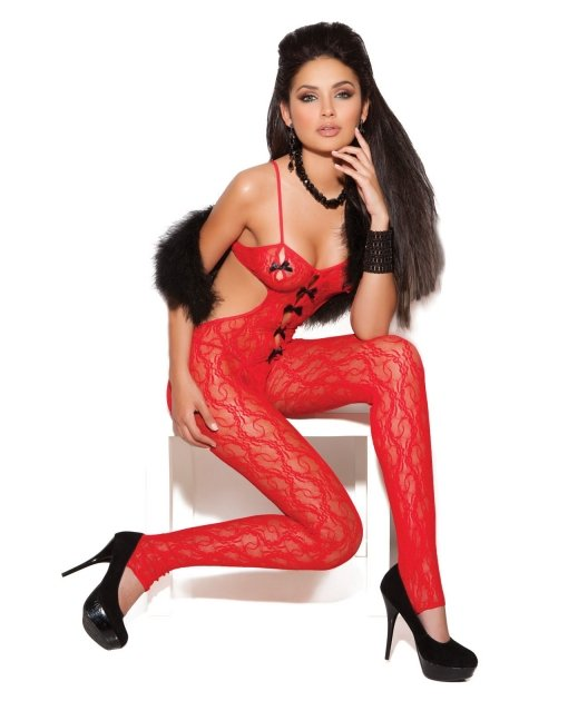 Vivace Lace Bodystocking w/Satin Bow Detail Red O/S