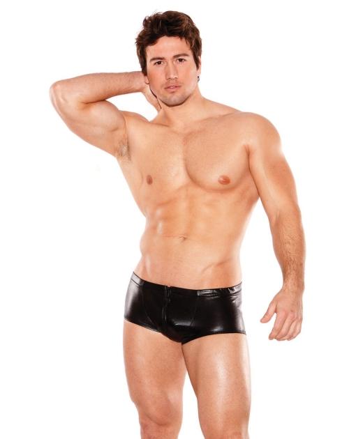 Zeus Wet Look Front Zipper Short Black O/S