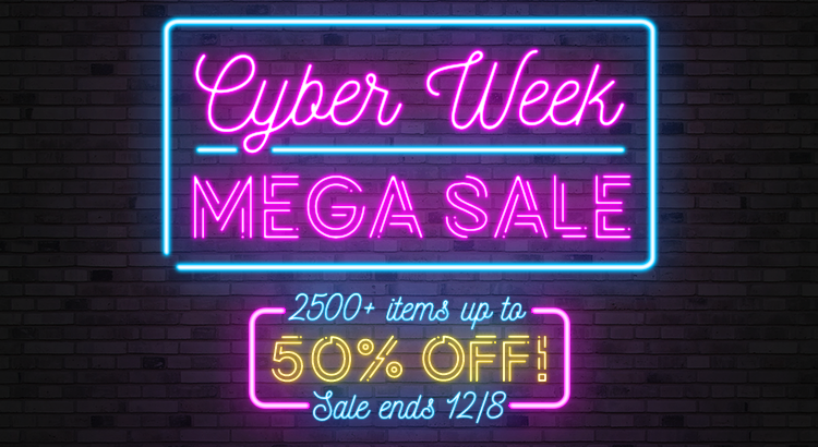 Save big on Cyber Monday all week long with 2500+ lingerie, adult toy, massage products, and more at up to 50% OFF! Sale starts 12/2, ends 12/8.